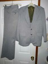 Vintage 70's Gray Plaid Polyester Knit Suit Men's 40 Short Pants 31X30 Actual