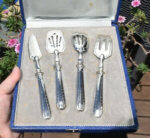 Boxed French Sterling Silver Handled Afternoon Tea Serving Set - Art Deco