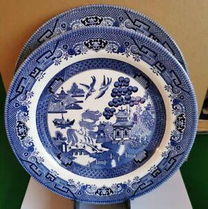 SET OF 2 DINNER PLATE 26 CM CHURCHILL WILLOW BLUE TABLEWARE DINNERWARE PLATES