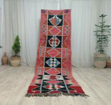 Vintage Boujad Handmade Runner Rug 3'2x10' Geometric Berber Pink Tribal Wool Rug