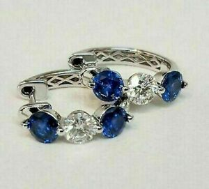 14k White Gold Finish 2Ct Round Cut Blue Sapphire & Diamond Huggie Hoop Earrings
