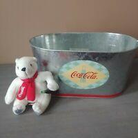 Vintage 2000 Coca Cola Ice Bucket Oval Galvanized Metal Tin Party Tub Cooler