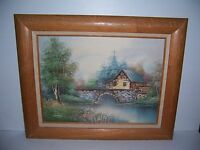 Vintage Framed Oil Painting on Canvas Of Old Mill & Bridge Signed Nathan