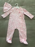 New Little Me Girl Pj Size 9 Month White Pink Floral