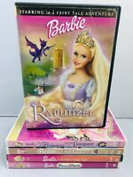 (5) Barbie Princess Pauper Mermaid Popstar Rapunzel Kids Children DVD Lot