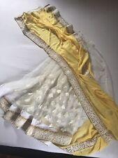 ethnic indian pakistani bollywood designer saree.yellow- white fancy net saree.