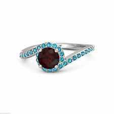 Brand New 925 Sterling Silver Garnet & Blue Topaz Solitaire With Accent Ring