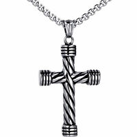 Men's Silver Tone Necklace Vintage Religious Cross Stainless Steel Pendant Chain