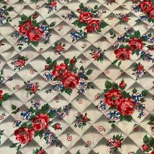 "Vintage Pink Roses Stitching Novelty Cotton Fabric 34"" X 86"""