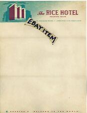Circa 1928 COLOR LETTERHEAD Art Deco RICE HOTEL Houston Texas TX
