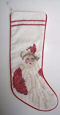 Vintage Christmas Stocking Finished Cross Santa