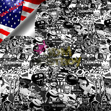 "4""x8"" SAMPLE JDM Black White Stickerbomb Graffiti Vinyl Sticker Wrap Decal Sheet"