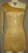 #2 GOLD HOLOGRAPHIC SEQUIN 60'S 1-SLEEVED DANCE/STAGE COSTUME DRESS-Size M