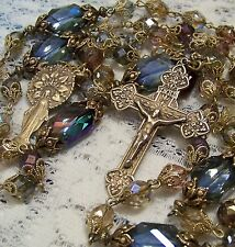 Rosary ~ Miraculous Medal ~ Soft Pastel Colors ~ Antique Bronze Design ~
