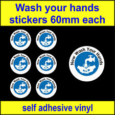 6x Now wash your hands, food hygiene signs adhesive viny toilet sink Stickers