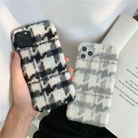 Luxury Warm Lattice Fabric Cloth Phone Case Warm Plush Cover For iPhone 12 11 XS
