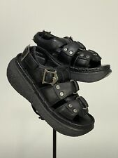 Rare 1990's London Underground Black Leather Platform Goth Sandals Sz 8 New