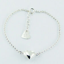 Genuine 925 Sterling Silver Puffed Heart Love Bracelet Silver Chain Adjustable