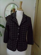 HOBBS 100% WOOL JACKET 12 DOGTOOTH BROWN MOCHA PRISTINE KNITTED CARDIGAN