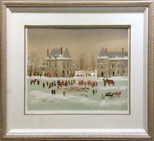 "Michel Delacroix ""Les Honneurs"" from La Chasse A Courre house Hand Signed Framed"
