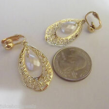 CLIP ON or Pierced Filigree 1.25in Drop Gold Tone Dangle Fashion Earrings S388