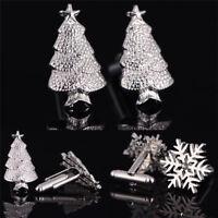 1Pair Christmas'Trees Snowflake Cufflinks Silver Plated Men ChristmasCuffLink BD