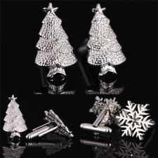1Pair Christmas Trees Snowflake Cufflinks Silver Plated Men Christmas Cuff`Links