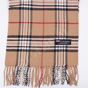 100% CASHMERE Scarf Camel tartan Plaid Stripe Design Soft For Unisex
