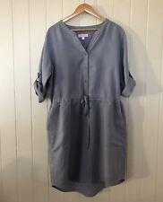 Trenery Size 18 Blue Linen Lyocell blend 3/4 Sleeve Button Up Dress Pockets