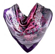 Foulard 100% Soie violet Motifs Fleurs  floral - Silk séide scarf