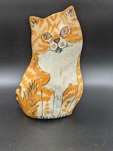 """""""Cats By Nina"""" Ceramic Orange Ginger Tabby Cat Planter Vase Utensil Holder  8"""""""