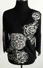 Forbidden Size Medium Black Stretch Top Beaded White Rose Print Sheer Sleeves