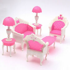 6PCS Dollhouse Furniture Living Room Parlour Sofa Chair Set for Barbie Doll