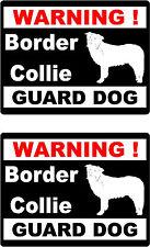 2 warning Border Collie guard dog car bumper home window vinyl decals stickers