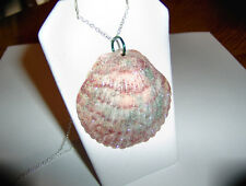 Handmade Natural Sea Shell...Glittered..Necklace..925 Sterling Silver Chain..#2