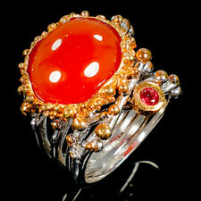 Handmade Natural Carnelian 925 Sterling Silver Ring Size 7/R98762