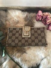 1a00df83cb2a Auth GUCCI GG Pattern Long Bifold Wallet Purse Canvas Leather Brown Vintage  CHIC