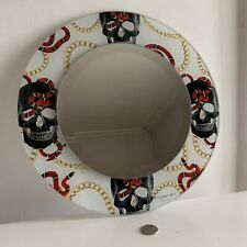 Round Sugar Skull Pop Art Bathroom/Bedroom Make Up Retro Look Wall Mirror