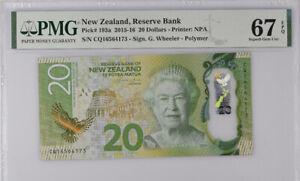 New Zealand 20 Dollars 2015 / 2016 Polymer P 193 Superb Gem PMG 67 EPQ NR
