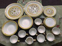 Vintage PERMA-STONE Dinnerware, Yellow, 39 Pieces Set, 1960's