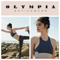🆕Free People Olympic Activewear TROY SMALL Sports Bra Grey Fit Stretch Yoga🆕