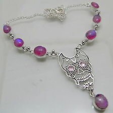Rainbow Moonstone Skull 925 Sterling Silver Handmade Jewelry Necklace 20 Gm B1