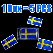 5 PCS x Sweden Flag Embroidered Patch Swedish Iron On National Emblem Stockholm