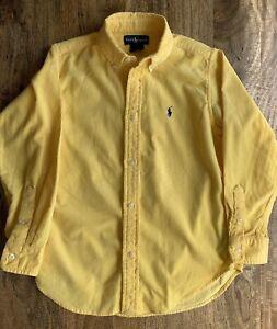 Ralph Lauren Polo Oxford Shirt Boys Size 7 EUC Yellow Corduroy Classic!