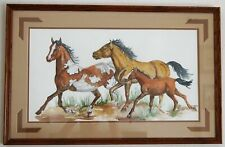"""JOHN S. THUMM """"The Horses With Foal"""" Watercolor On Paper A6445"""