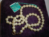 "HOBE Vintage 6mm Genuine Cream Majorca Pearl 16.5"" Necklace CHOKER Mint w/ Label"