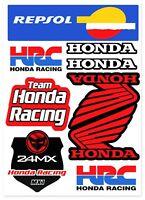 9 PVC Aufkleber Satz Honda HRC Repsol Racing Logo Auto Moto Vinyl Sticker Set