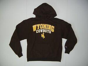 Champion WYOMING COWBOYS Brown Cotton COLLEGE HOODIE Team Fan Sweatshirt Men's L