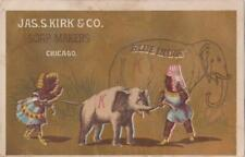 Victorian Trade Card Jas S Kirk Co Blue India Soap Couple Pull Baby Elephant