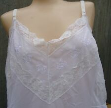 "VTG Snow White Snowden sz 46 Full Slip Nylon Feminine 5.5"" Embroidered Lace ASIS"